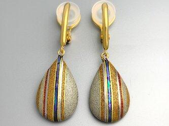 【sv925】金蒔絵と螺鈿の漆イヤリング|ソフトタッチ無痛イヤリングの画像