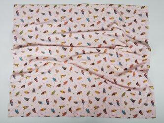 □  ガーゼのブランケット くま×五線譜  ピンクの画像