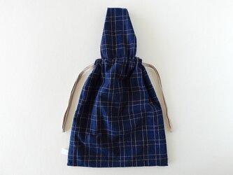 【1点のみ:6月末お届け】備後節織の巾着バッグ 二筋格子の画像