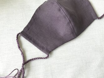 リネン立体マスク★ボルドー★(ノーズワイヤーポケット、フィルターポケット付き) 大人Mサイズ 1枚の画像