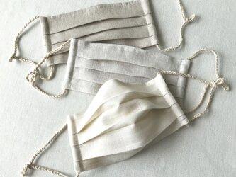 リネン★茶★プリーツマスク(ノーズワイヤーポケット、フィルターポケット付き) 大人Mサイズの画像