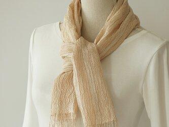 草木染め 手織りシルクストール ベージュ ST21の画像