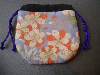 古布 手作り巾着 【花と流水】の画像
