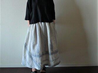 リネン  ストライプ柄切り替えスカート(丈・ウエスト セミオーダー)の画像