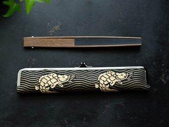 大人の紳士用扇子ケース/24cm/ビンテージ帯の画像