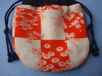 古布 手作り巾着 【市松模様にいろいろな花】の画像