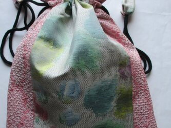 4833 絞りと花柄の着物で作った巾着袋 #送料無料の画像