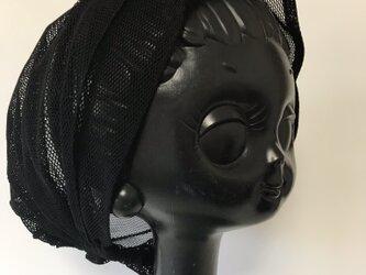 ターバン風帽子 Lサイズ (黒・メッシュ)の画像
