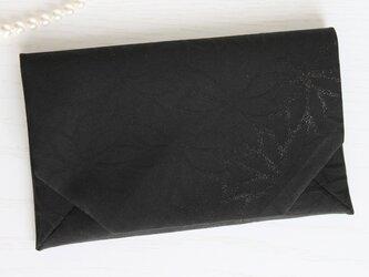 袱紗(ふくさ)シルク<ブラック×シルバーグレー>FW044-Y067の画像
