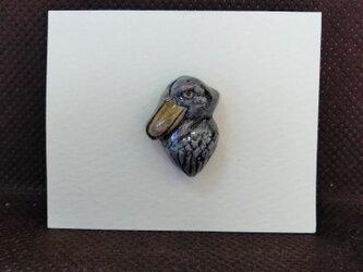 動物石 ピンズ ハシビロコウ(灰色)の画像