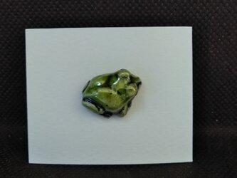 動物石 ピンズ アマガエル(緑色)の画像