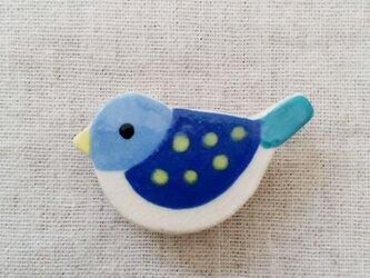 小鳥ブローチ(水色×青)の画像