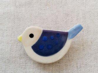 小鳥ブローチ(ベージュ×青)の画像
