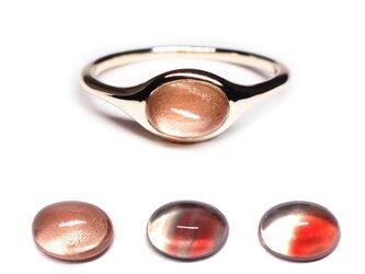 産直オレゴンサンストーンK10オーバルリング【Pio by Parakee】Oregon sunstone ovalの画像