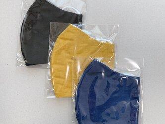 3枚 表裏ガーゼマスク 大きめサイズ 布マスク 立体マスク 黒からし紺の画像