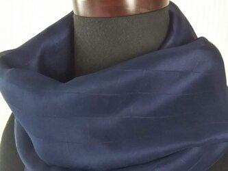 藍染 シルク ストール 格子の画像