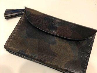 イタリアンレザー エル・ヴァケーロとアリゾナ・黒のコンパクトなじゃばら財布の画像