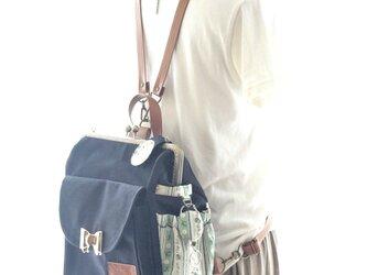 リラックスデニム右ファスナー3WAYリボンリュック貴重品ポケット付き グリーンフラワーの画像