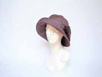 ●着物地ハット:紫の縞の紬・着物リメイク・着物地帽子・2日営業日以内発送・国内送料無料 2004h06の画像