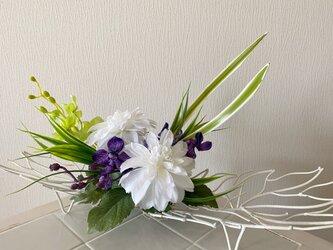 ダリアとモカラのモダンアレンジ【造花】母の日・ギフトにの画像