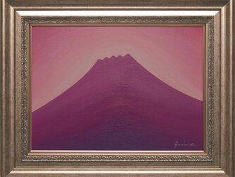 肉筆油絵●ラベンダーの富士山●がんどうあつし直筆絵画シルバーアクリル額付紫風水の画像