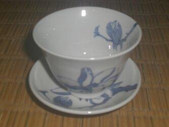 受け皿付湯飲み茶碗 木蓮の画像