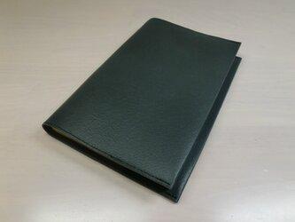 新書サイズ、コミック対応・黒鉄色・ピッグスキン・一枚革のブックカバー・0497の画像