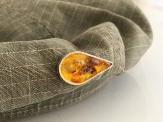 バルト海産琥珀原石◇Silver Pin Broachの画像