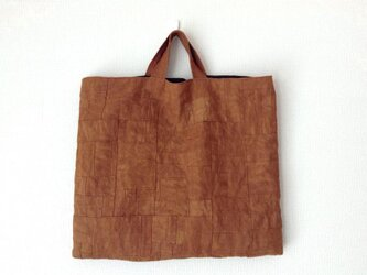 つないでつないで柿渋かばん /リネン/レトロ/太陽染め/トートバッグの画像
