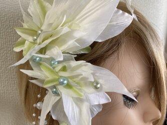 西陣織リボンと水引の髪飾り【造花】ウェディング・成人式などの着物に!・卒業式のの画像