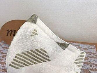 夏も!スタイリッシュリネン立体マスク Lsizeの画像