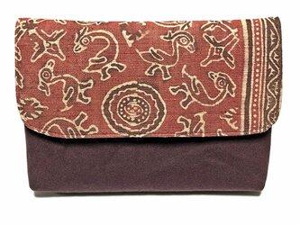 インド更紗の数寄屋袋(赤)の画像