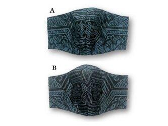 ML39a 大島紬マスク(Lサイズ・黒×ブルー・亀甲柄)の画像