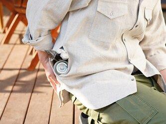 【wafu/Lサイズ】中厚 リネン シャツ キャンプ アウトドアに メンズ 男女兼用/亜麻ナチュラル t035g-amn2-lの画像