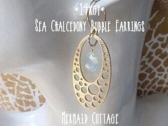 *14kgf*Sea Chalcedony Bubble Earrings*カルセドニー/ピアス・イヤリングの画像