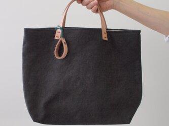 手染め帆布トートバッグMサイズ □消炭黒色□の画像