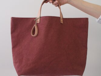 手染め帆布トートバッグLサイズ □柿渋色□の画像