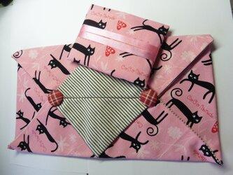 廃盤ピンク 黒猫 ポケットティッシュカバー★ティッシュボックスカバーの画像