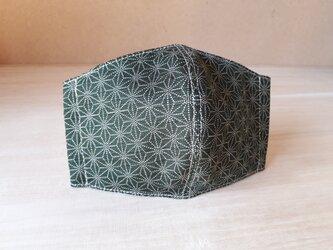 【再販】立体マスク[Mサイズ]*麻の葉×カーキの画像