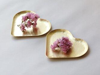 \試作アウトレット/ハートのカタチの真鍮皿2枚の画像