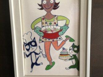 ポストカード「家事は楽しく・お料理」額入りの画像