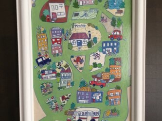 カード「happy town」額入りの画像