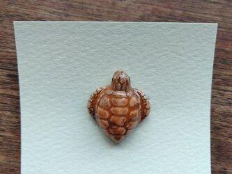 動物石 ブローチ ウミガメ(橙色)の画像