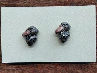 動物石 イヤリング ハシビロコウ(灰色)の画像