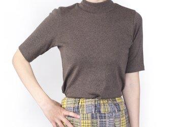 日本製オーガニックコットン 形にこだわった 大人のハイネック4分袖Tシャツ【サイズ・色展開有り】の画像