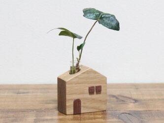 かわいい木のお家 一輪挿し【ホワイトオーク】の画像