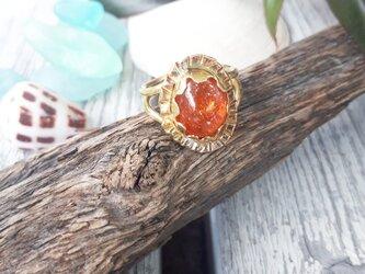 【14号】brass sun stone ringの画像