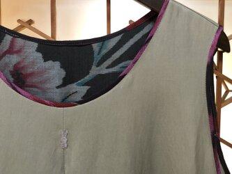 うさぎのナチュラルワンピース045(綿レーヨン・ベージュ)銘仙リメイク 古布 ノースリーブ ゆったり ロング 大人可愛いの画像