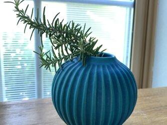 花瓶 ターコイズブルーgの画像