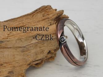 R-PomegranateCZ ザクロのCZリング 幅4mm <エイジング,ツヤ消しサテン 指定可>の画像